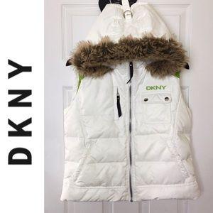🌸DKNY🌸Womens Faux Fur Hooded Puffer Vest Jacket